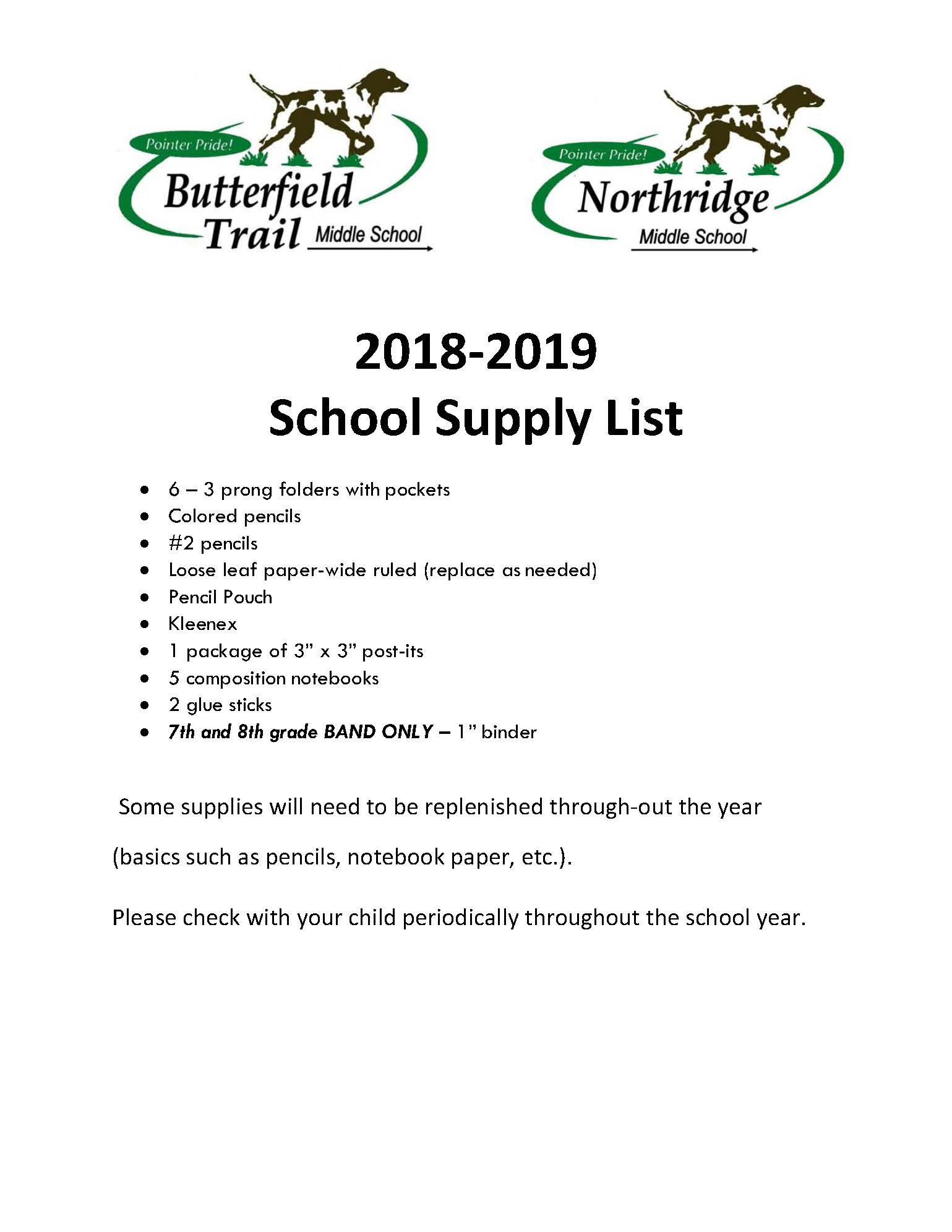 School Supply List 18-19 BTMS