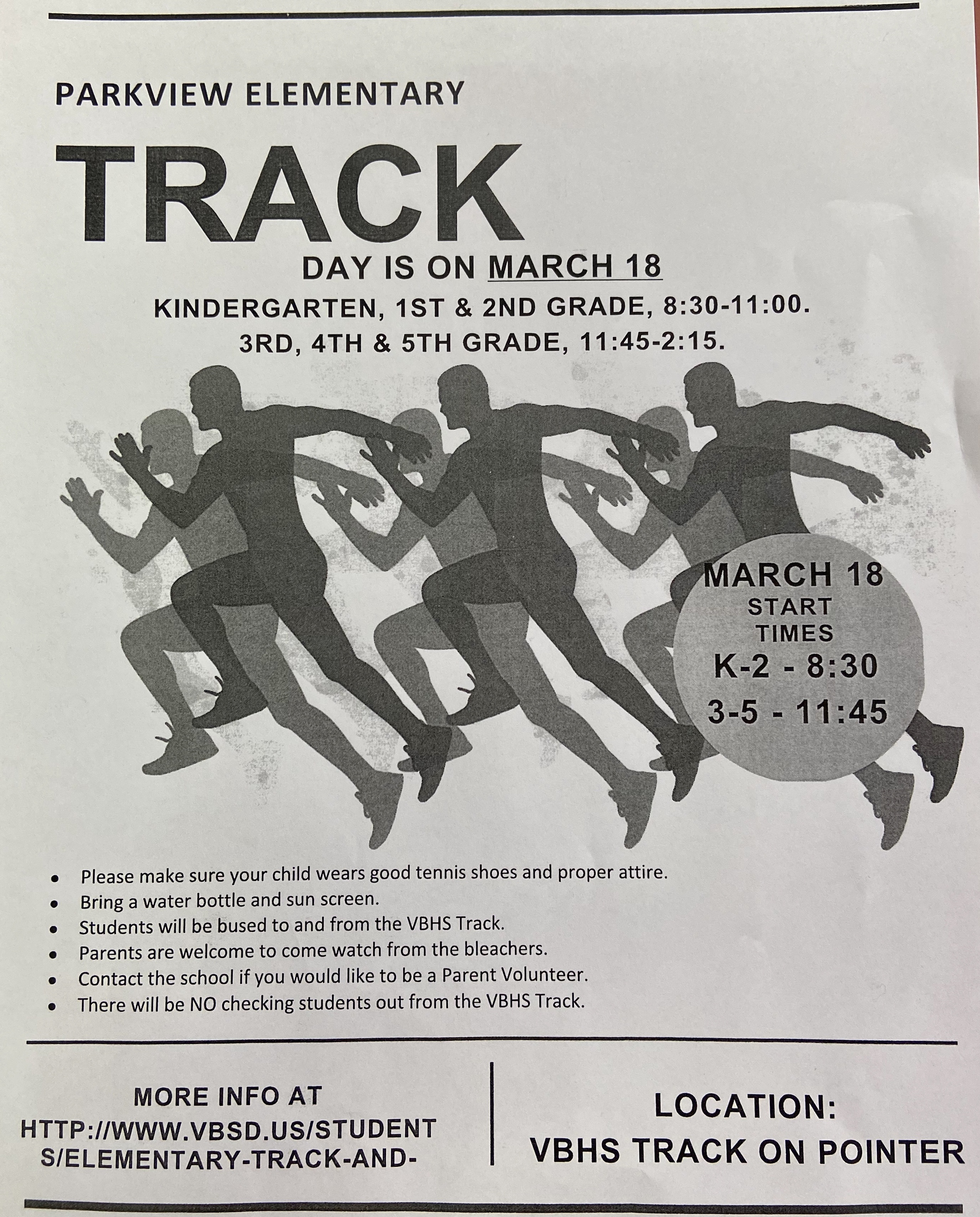Parkview Track Day- Wednesday, March 18, 2020