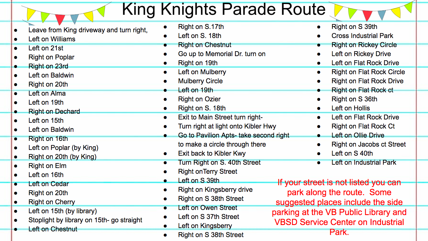 Turn by Turn guide for parade